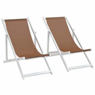 Skládací plážová křesla 2 ks hliník / textilen Hnědá