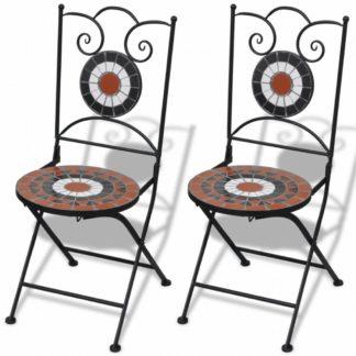 Zahradní skládací židle 2 ks Bílá / hnědá