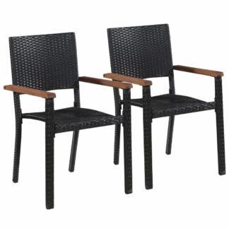 Zahradní židle 2 ks černá / hnědá
