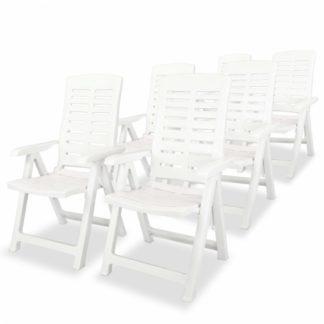 Polohovatelné zahradní židle 6 ks plast Bílá