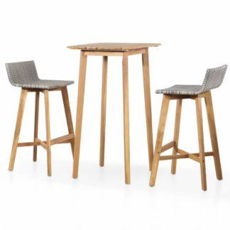 Zahradní barový set 3ks polyratan / akáciové dřevo