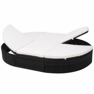 Zahradní polohovací postel s poduškou Černá