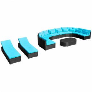 Zahradní sedací souprava se 2 lehátky Dekorhome Modrá