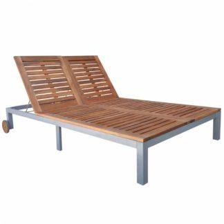 Zahradní lehátko kov / akáciové dřevo 130x207 cm