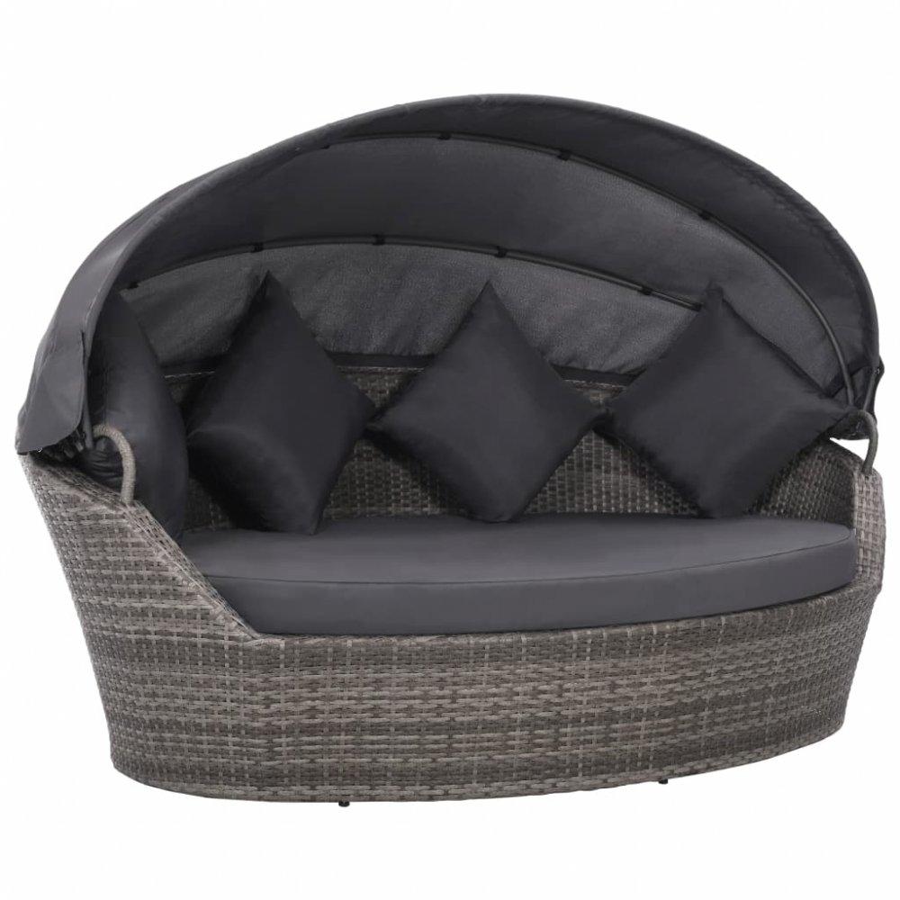 Zahradní ratanová postel s baldachýnem Šedá