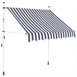 Zatahovací markýza 150x120 cm Dekorhome Bílá / modrá
