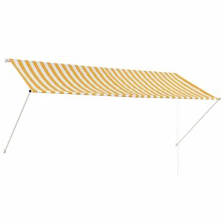 Zatahovací markýza 300x150 cm Dekorhome Bílá / žlutá