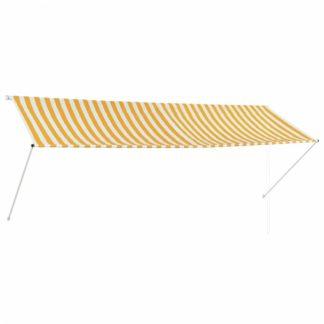 Zatahovací markýza 350x150 cm Dekorhome Bílá / žlutá