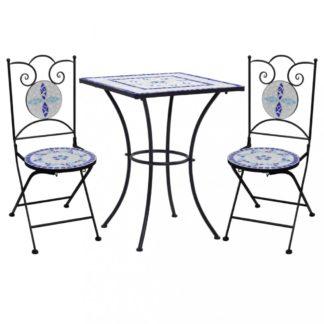 Mozaikový bistro set 3 ks Dekorhome Bílá / modrá