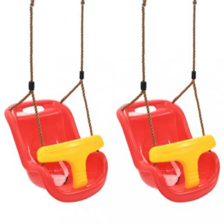 Houpačky pro batolata 2 ks červená / žlutá Dekorhome