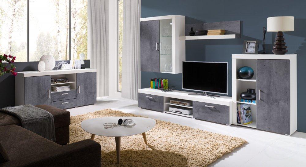 Obývací stěna Samba bílá/beton - FALCO