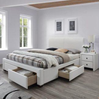 Postel Modena 2 rozměr 160x200 cm bílá s úložným prostorem + matrace Halmar