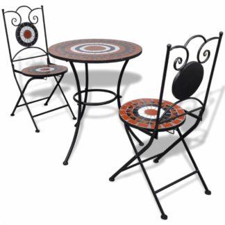 Zahradní mozaikový set 3 ks keramika Dekorhome Bílá / oranžová