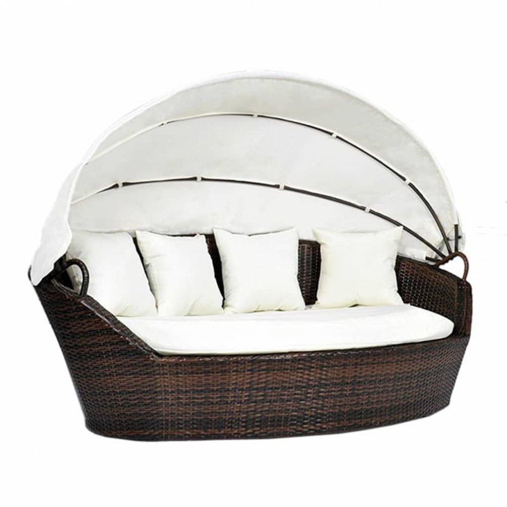 Zahradní ratanová postel s baldachýnem Hnědá