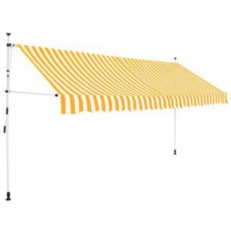 Ručně zatahovací markýza 350 cm Dekorhome Bílá / žlutá