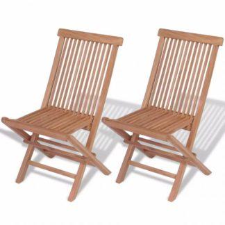 Teakové skládací židle 2 ks hnědá