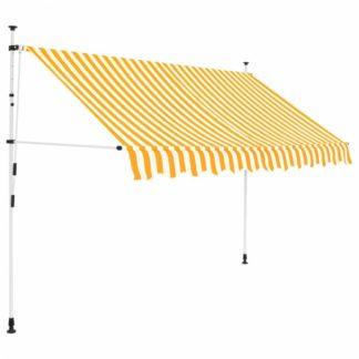 Ručně zatahovací markýza 300 cm Dekorhome Bílá / žlutá