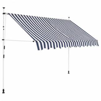 Ručně zatahovací markýza 300 cm Dekorhome Bílá / modrá
