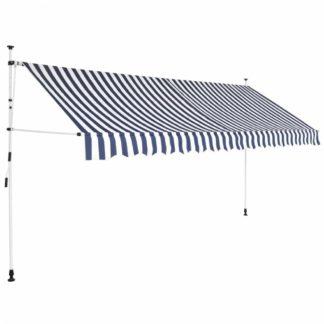 Ručně zatahovací markýza 400 cm Dekorhome Bílá / modrá