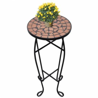 Mozaikový stolek na květiny keramika Dekorhome Cihlová