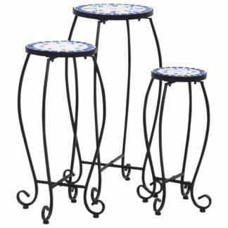 Mozaikové stoly 3 ks keramika Dekorhome Modrá