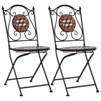 Mozaikové bistro židle 2 ks keramika Dekorhome Cihlová