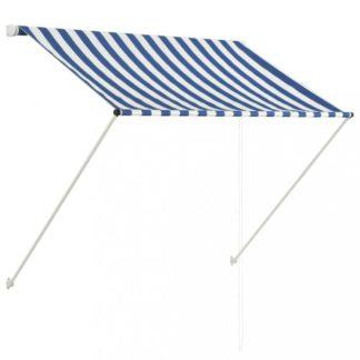 Zatahovací markýza 100x150 cm Dekorhome Bílá / modrá