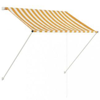 Zatahovací markýza 100x150 cm Dekorhome Bílá / žlutá