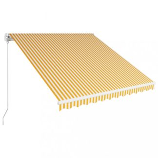Ručně zatahovací markýza 300x250 cm Dekorhome Bílá / žlutá