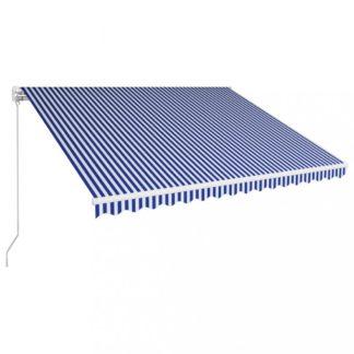 Ručně zatahovací markýza 400x300 cm Dekorhome Bílá / modrá