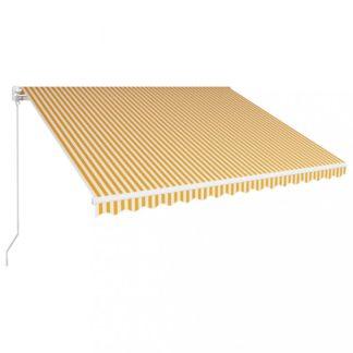 Ručně zatahovací markýza 400x300 cm Dekorhome Bílá / žlutá
