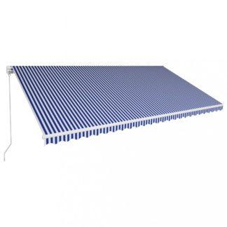 Ručně zatahovací markýza 600x300 cm Dekorhome Bílá / modrá