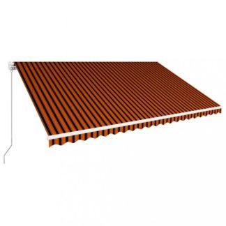 Ručně zatahovací markýza 500x300 cm Dekorhome Hnědá / oranžová