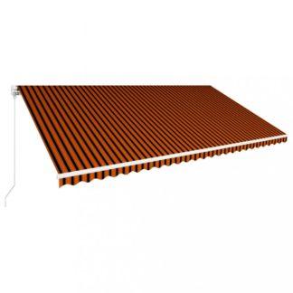 Ručně zatahovací markýza 600x300 cm Dekorhome Hnědá / oranžová