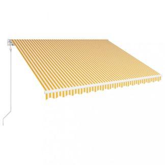 Automatická zatahovací markýza 400x300 cm Dekorhome Bílá / žlutá