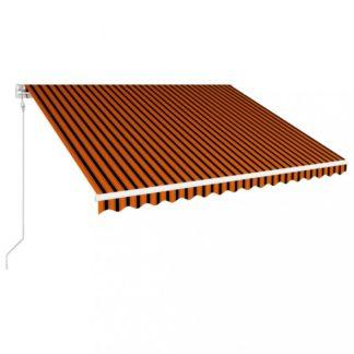 Automatická zatahovací markýza 400x300 cm Dekorhome Hnědá / oranžová