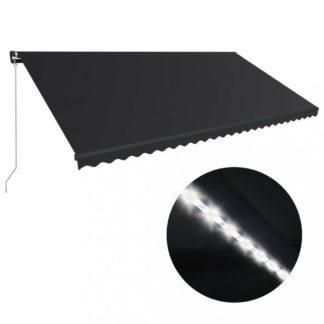 Ručně zatahovací markýza s LED světlem 600x300 cm Dekorhome Antracit