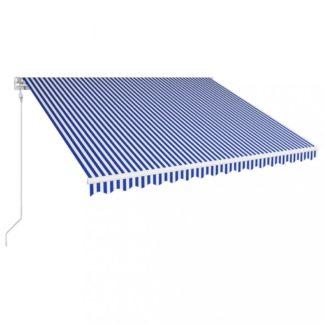 Automatická zatahovací markýza 450x300 cm Dekorhome Bílá / modrá