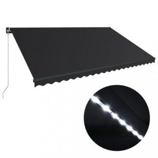 Ručně zatahovací markýza s LED světlem 500x300 cm Dekorhome Antracit