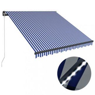 Ručně zatahovací markýza s LED světlem 300x250 cm Dekorhome Bílá / modrá