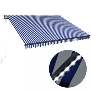 Zatahovací markýza se senzorem větru a LED světlem 350x250 cm Dekorhome Bílá / modrá