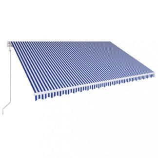 Automatická zatahovací markýza 500x300 cm Dekorhome Bílá / modrá