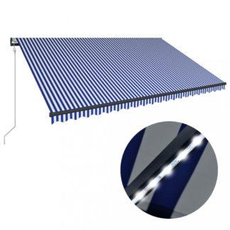 Zatahovací markýza se senzorem větru a LED světlem 500x300 cm Dekorhome Bílá / modrá