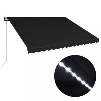 Zatahovací markýza se senzorem větru a LED světlem 450x300 cm Dekorhome Antracit