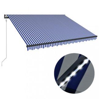 Zatahovací markýza se senzorem větru a LED světlem 450x300 cm Dekorhome Bílá / modrá