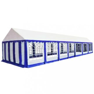 Zahradní altán PVC 6 x 14 m Dekorhome Bílá / modrá
