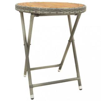 Zahradní čajový stolek polyratan Dekorhome Hnědá / šedá