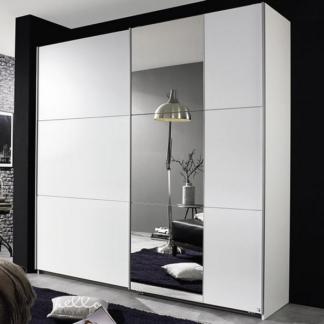 Šatní skříň Kronach, 175 cm, bílá/zrcadlo