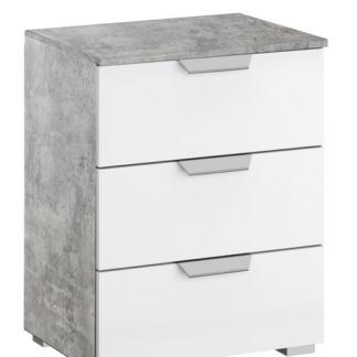 Vyšší noční stolek Aditio, šedý beton/bílá