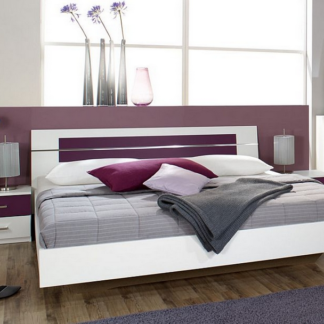Postel s nočními stolky Burano 180x200 cm, bílá/fialová